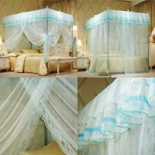 Uozzi Bedding 4 Corners Post Turquoise Canopy Bed Curtain For Girls Adults - C