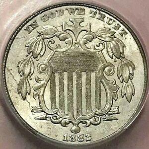 1882 SHIELD NICKEL ICG AU-58