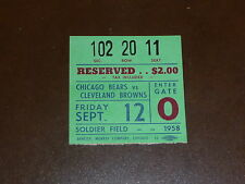 1958 CHICAGO BEARS TICKET VS CLEVELAND BROWNS BOBBY MITCHELL ROOKIE JIM BROWN