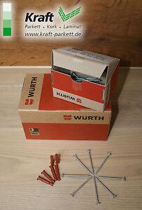 Linsenkopfschrauben + Dübel, 50St., (Würth) für Sockelleisten 3,5x50mm; 3 Farben