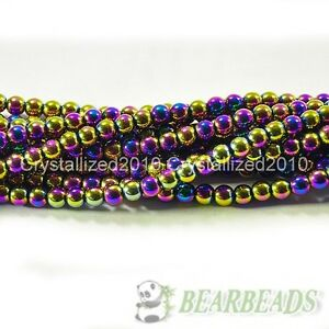 "Natural Hematite Gemstone Round Ball Beads Metallic Color 4mm 6mm 8mm 10mm 16"""