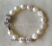 11-12mm kultivierte barocken weißen Süßwasserperlen Leopard Kopf Armband 8 Zoll