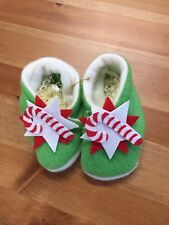 Christmas Present Red Green White Candy Cane Star Fleece Baby Slippers Gift New