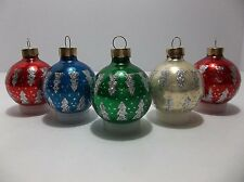 Vintage Blown Glass Christmas Tree Ornaments RED GREEN WHITE BLUE Silver GLITTER