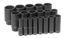 19-Piece 3/8 in. to 1-1/2 in. Drive 12-Point SAE Impact Socket Set GRY-1719D