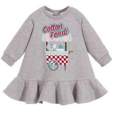 Nwt New Fendi Baby Girls gray jersey logo dress 3m Rt $400+