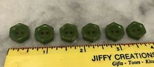 6 VINTAGE BUTTONS Green Hexagon BAKELITE CELLULOID