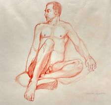 Male Nude Crayon Drawing Salvator Ingrassia Blue Gay Interest Chicago NM Florida
