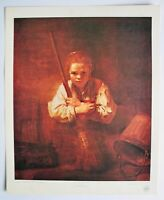 Vintage Art Print Rembrandt Van Ryn Girl With A Broom Fine Arts California USA