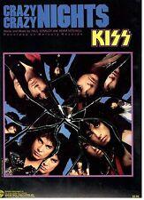 """KISS-CRAZY NIGHTS"" PIANO/VOCAL/GUITAR W/CHORDS SHEET MUSIC-1987-VERY RARE-NEW!!"