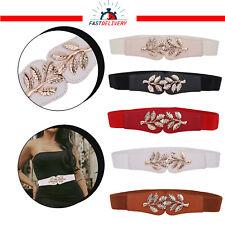 Lady Wide Fashion Belt Women Elastic Belts Leaves Buckle Waist Dress Stretch