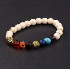 Fashion 8Mm Matte Stone Reiki Beads Gold Buddha head Charm 7 Chakra Bracelets