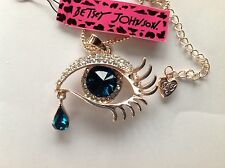 "BLUE CRYSTAL EYE/Rose Gold Plated 28"" Pendant Necklace Betsey Johnson"