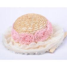 Baby Kids Girls Summer Beach Flower Straw Cap Sunhat Derby Panama Boater Cloche