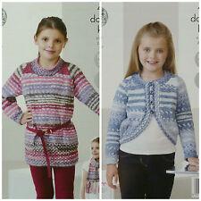 KNITTING PATTERN Childrens Easy Knit Long Sleeve Tunic Bolero & Scarf DK KC 4452