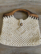 Macrame Purse With Wooden Handles Boho Style