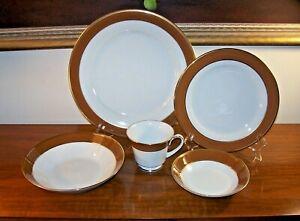 Noritake Legacy Dinnerware Granada Pattern 2794 Brown Rim Gold Trim Select Piece