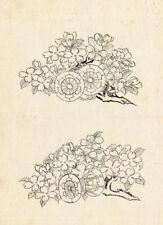 Antique Japanese Print-FLOWER-1850