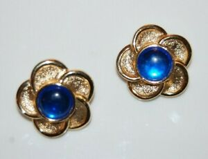 ELEGANT VTG PAOLO GUCCI COUTURE BLUE CABOCHON ROUND GOLDEN FLOWER CLIP EARRINGS