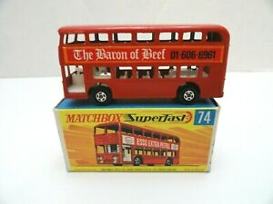 MATCHBOX LESNEY SUPERFAST #MB74 Daimler Bus - Baron of Beef Labels Mint in Box