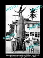 OLD 6 X 4 GAME FISHING PHOTO OF 1000lb BLACK MARLIN CAUGHT OFF CAIRNS c1966