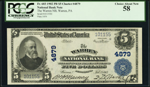 Warren, PA $5 1902 Plain Back Fr. 603 CH# 4879 The Warren NB National Currency