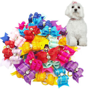 20/50/100pcs Dog Hair Bows Rubber Band Pet Cat Puppy Headwear Grooming Accessory