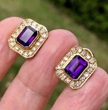 14K Yellow Gold Amethyst Diamond Halo Architectutal Classic Vintage Earrings