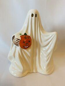 Vtg Ghost Jack-O-Lantern Pumpkin Halloween Ceramic Russ Berrie Candle Tealight