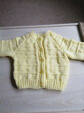 Lemon hand knitted baby cardigan - new - 0 to 3 months