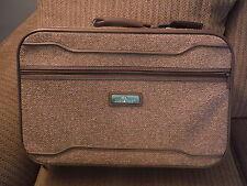 "VINTAGE Jordache Brown Tweed Suitcase Luggage - 21"" x 13"" x 6"" - Great Condition"