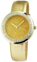Excellanc Damenuhr Gold Strass Analog Metall Kunst-Leder Quarz X1900100003