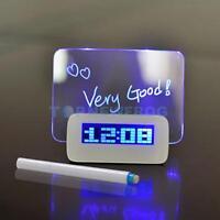 LED Digital Uhr Alarmwecker Tischuhr MEMOBOARD mit Temperatur Kalender Anzeige
