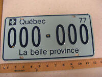 1977 77 QUEBEC CANADA SAMPLE LICENSE PLATE TAG 000-000 AMAZING PLATE