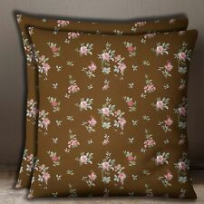 S4Sassy Brown Floral Print 2 Pcs Cushion Cover Cotton Poplin Pillow Case Throw