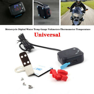 Universal Motorcycle Digital Water Temp Gauge Volt Thermometer Part USB Charger