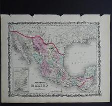 Antique Map Johnson's 1862, Single Page,  Mexico M10#03