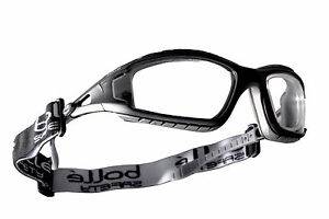 BOLLE CLEAR LENS SAFETY GLASSES, PROTECTIVE EYE WEAR GOGGLES TRACPSI RDG