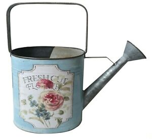 """All Chic Metal """"Fresh Cut Flowers"""" Blue Watering Can Planter Distressed Chic"""