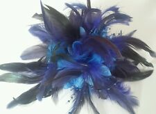 Flower Feather,Bead 3in1 corsage,clip Fascinator.  BLUE & NAVY.lots of feathers.