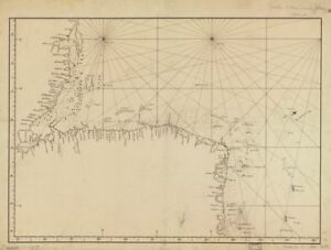 """18"""" x 24"""" Map Of The Carribean Coast Central America From Belize To Nicaragua"""