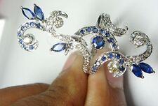 0.76ct NATURAL DIAMOND SAPPHIRE 14K WHITE GOLD WEDDING ANNIVERSARY RING