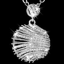 BIG Micro Pave Set Cz Swarovski Crystal Ele SHELL Chain Link Pendant Necklace