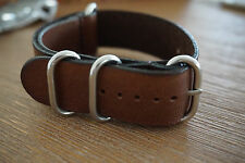 18mm Genuine Leather NATO Style Strap round buckle - Coffee Brown - Free Postage
