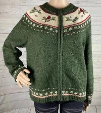 Croft & Barrow Zip Front Sweater Petite Large Green Christmas Cardinal Knit