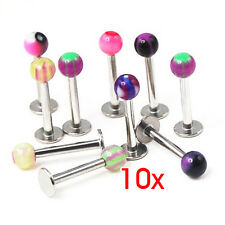 Mix Color Labret Balls Lip Tragus ring Ear Stud Bars Kit 10pcs P1317 CT P3G M0P2