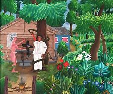 """Marriage Ceremony"" by A.M. Maurice - Naive Haitian Art - 24 inches x 20 inches"