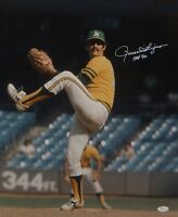 Rollie Fingers Autographed 16x20 Oakland A's Pitching Photo- JSA W Authenticated