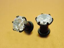 Black Titanium single flare plug gem New Pair Of 4g 5Mm with Cz