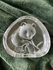 Beautiful Panda Bear Etched Crystal Sculpture Signed Mats Jonasson Sweden